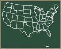 De Kaart van de V.S. op Schoolbord Stock Afbeelding