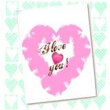 De kaart van de valentijnskaart met harten Stock Foto's