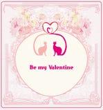De kaart van de valentijnskaart met katten in liefde Royalty-vrije Stock Afbeeldingen