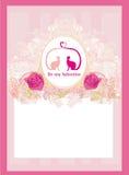 De kaart van de valentijnskaart met katten in liefde Stock Afbeeldingen
