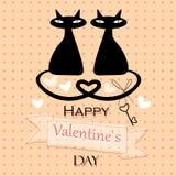 De kaart van de valentijnskaart met katten in liefde Royalty-vrije Stock Foto