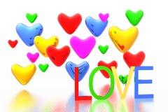 De kaart van de valentijnskaart met kleurenharten Stock Afbeelding