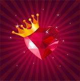 De kaart van de valentijnskaart met kristalhart Royalty-vrije Stock Afbeeldingen