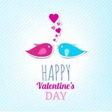 De Kaart van de valentijnskaart met Leuke Vogels stock illustratie