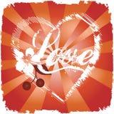 De kaart van de valentijnskaart met liefde en hart Stock Afbeeldingen