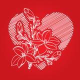 De kaart van de valentijnskaart met rode hart en tak Stock Foto