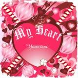 De kaart van de valentijnskaart met roze en rode harten Royalty-vrije Stock Foto's