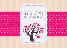 De kaart van de valentijnskaart met roze lint Stock Afbeelding