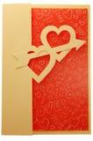 De kaart van de valentijnskaart met twee harten en pijl Stock Afbeeldingen