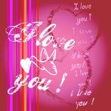 De kaart van de valentijnskaart met vogel en harten Stock Foto