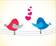 De Kaart van de valentijnskaart met Vogels Stock Fotografie