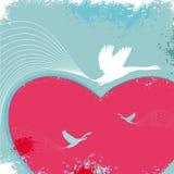 De kaart van de valentijnskaart met vogels Stock Afbeeldingen