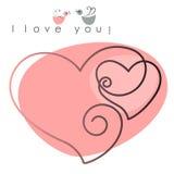 De kaart van de valentijnskaart. twee harten met vogels Stock Afbeelding