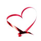 De kaart van de valentijnskaartendag. Hart dat van Rood lint wordt gemaakt dat op wit wordt geïsoleerd Stock Foto's