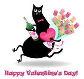 De kaart van de valentijnskaartendag met kat Stock Afbeeldingen