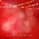 De kaart van de valentijnskaartendag met slinger van lichten en harten, illustratie Stock Afbeelding