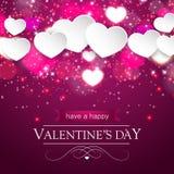 De kaart van de valentijnskaartendag met vage harten en fonkelingen Stock Afbeeldingen