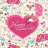 De kaart van de valentijnskaartendag met weinig vos Stock Foto