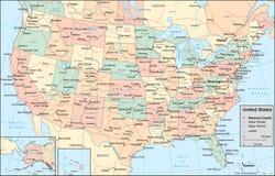 De kaart van de Verenigde Staten van Amerika Stock Afbeelding