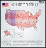 De kaart van de Verenigde Staten van Amerika in geometrische veelhoekige stijl Veelhoekige abstracte wereldkaart Stock Foto's