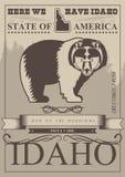 De kaart van de Verenigde Staten van Amerika met beer in uitstekende stijl Royalty-vrije Stock Afbeelding