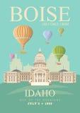 De kaart van de Verenigde Staten van Amerika met de ballons van Boise en van de hete lucht Stock Fotografie