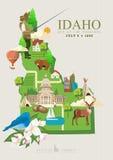 De kaart van de Verenigde Staten van Amerika met de kaart van Idaho Royalty-vrije Stock Fotografie