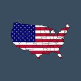 De kaart van de Verenigde Staten van Amerika met vlag Royalty-vrije Stock Foto's