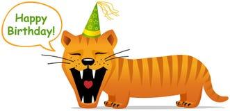 De kaart van de verjaardag, het glimlachen kat stock fotografie