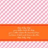 De kaart van de verjaardag met babywiegeliedje Stock Foto