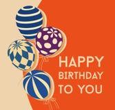 De kaart van de verjaardag met ballons stock illustratie