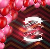 De kaart van de verjaardag met ballons Stock Foto's