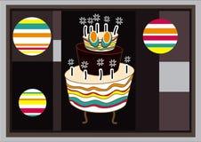 De Kaart van de verjaardag met Cake Stock Foto