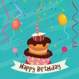 De Kaart van de verjaardag met Cake Royalty-vrije Stock Afbeeldingen