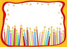 De kaart van de verjaardag met kaarsen Royalty-vrije Stock Afbeeldingen