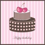 De kaart van de verjaardag met kersencake Stock Foto