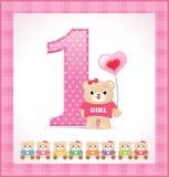 De kaart van de verjaardag voor babymeisje Royalty-vrije Stock Fotografie