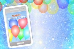 De kaart van de verjaardagsgroet of achtergrond met cellphone Stock Foto's