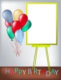 De kaart van de verjaardagsgroet met kader voor één of andere tekst, gekleurde ballon Stock Afbeelding