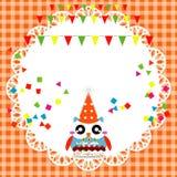 De kaart van de verjaardagspartij met leuke uil Stock Afbeeldingen