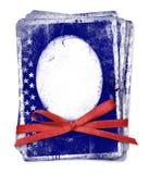 De kaart van de viering met patriottische symbolen van Amerika Stock Foto's
