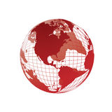 De kaart van de wereld, 3D bol Stock Foto's