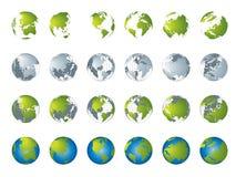 De kaart van de wereld, 3D bolreeks Royalty-vrije Stock Foto's