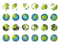 De kaart van de wereld, 3D bolreeks Stock Foto's