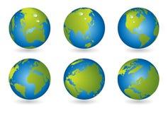 De kaart van de wereld, 3D bolreeks Stock Fotografie