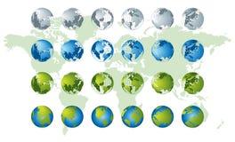 De kaart van de wereld, 3D bolreeks Royalty-vrije Stock Afbeeldingen