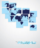 De kaart van de wereld, bedrijfsachtergrond Stock Afbeeldingen