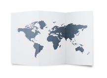 De kaart van de wereld bij document blad vector illustratie