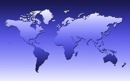 De Kaart van de wereld in Blauw Royalty-vrije Stock Foto's