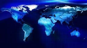 De Kaart van de wereld - Blauwe versie met netwerk stock illustratie